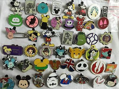 Disney Pins Trading Lot of 50 No Duplicates Lapel Collector Pins Disneyland