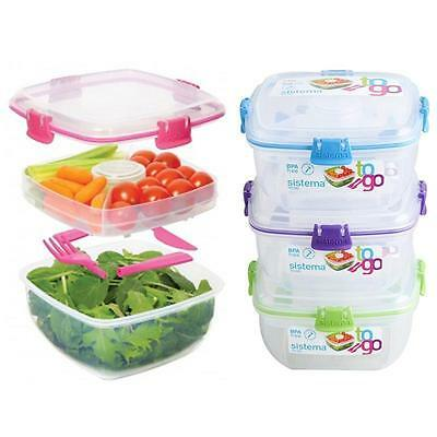 Sistema Salad To Go With Dressing Pot Cutlery Food Lunch Bento Box 1.1L