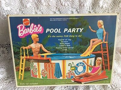 Vintage 1973 Mattel Canada Barbie POOL PARTY Complete In Original Box!
