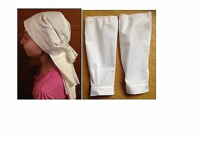 WW1 WWI VAD Nurse costume Headscarf Hat Headgear Veil Sleeve Protectors Handmade