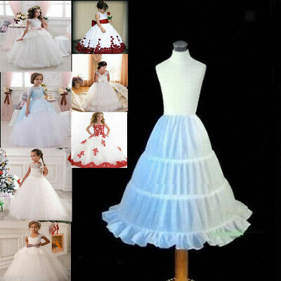 3-Hoop Flower Girls Petticoat Underskirt Kids Wedding Crinoline for Dress