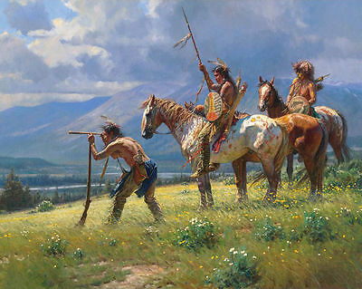 "Decor Quality Art Canvas Print, Oil Painting Indians At A Distance  ,16""x20"""