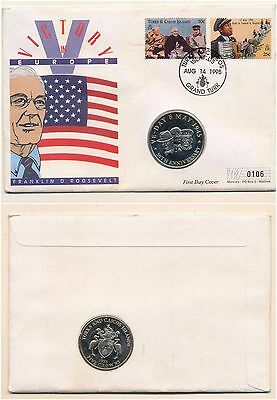 First Day Cover Roosevelt 1995 / Ve-Day 5 Crown Coin / Turks & Caicos Stamps