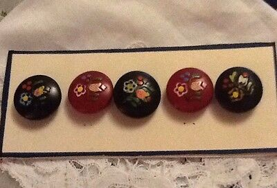 Coloured Wooden Buttons With A Floral Pattern