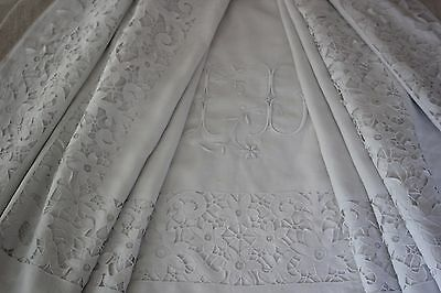Antique French Fil Renaisance-Colbert Embroidery Sheet Large Monogram  J D