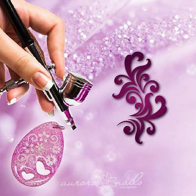 Airbrush Templates F324 NAILART Tendril Floral Flowers XL motif for jewelry