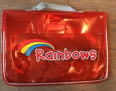 RAINBOW WELCOME BAG Red Clear Satchel Books With Handle Guides Used Good