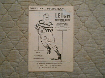 Leigh V Wigan Rugby League Match Programme August 1959