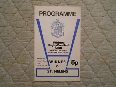 Widnes V St Helens Rugby League Match Programme January 1975