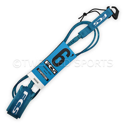 NEW FCS 6' (6ft.) Competition Comp (5.5mm) Premium Surfboard Surf Leash - Teal