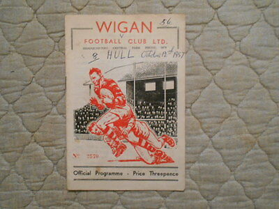 Wigan V Hull Rugby League Match Programme October 1957
