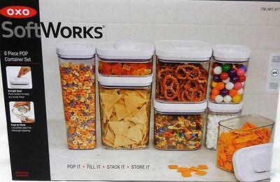 NIB 8 Pc OXO SoftWorks Pop Container Set Food Storage Airtight Seal, Easy Clean