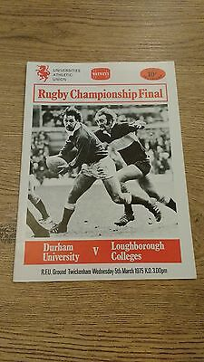 Durham University v Loughborough Colleges 1975 UAU Final Rugby Union Programme