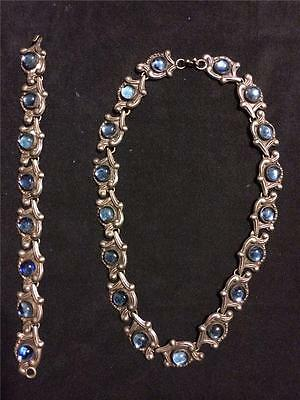 """Vtg Taxco Sterling Silver 16"""" Necklace/Bracelet Set Mexico Mexican Blue Cabochon"""