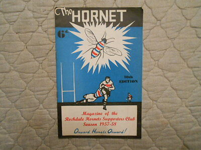 The Hornet Magazine Of The Rochdale Hornets Supporters Club 1957-1958