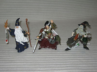 PAPO 3 X Figurines - Merlin - The Sorcerer - Witch - Lot - New