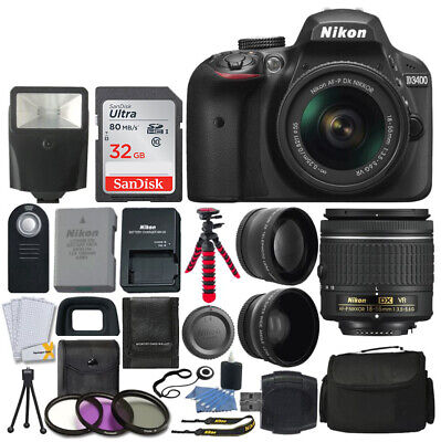 Nikon D3400 Digital SLR Camera + 3 Lens 18-55mm VR Lens + 32GB Full Value Kit
