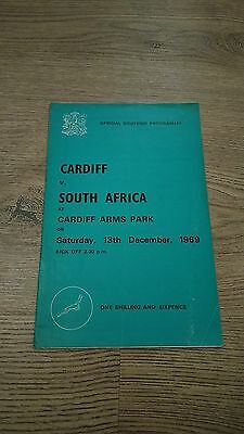 Cardiff v South Africa 1969 Rugby Union Programme