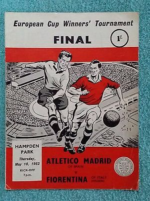 1962 - CUP WINNERS CUP FINAL PROGRAMME - FIORENTINA v ATHLETICO MADRID