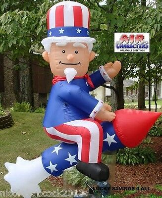 6 Ft Patriotic Uncle Sam On A Rocket Airblown Inflatable Outdoor Decoration!!