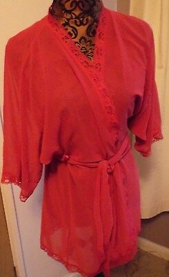 Vintage ladies red negligee dressing gown lace trim Size 8-10