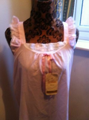Vintage 1960s ladies Brettles pink nightie floral & lace Size 12/14 Bust 34/36in