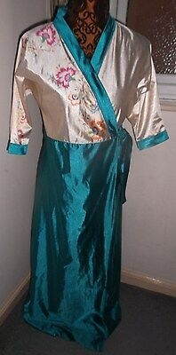 Vintage 1990s ladies turquoise & cream floral dressing gown Size SW / Small