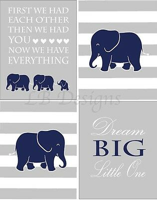Navy Blue and Gray Elephant Nursery Prints, Jungle Nursery Art Set Of Four 8x10