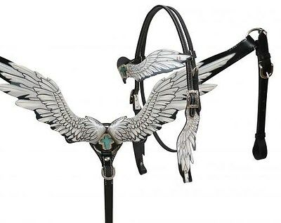 Showman Cut Out Angel Wing BLACK Leather Headstall/Breast Collar Set! HORSE TACK