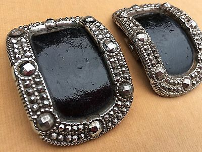 Pair of Antique French Victorian Cut Steel Belt - Shoe Buckles