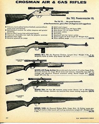 1976 Print Ad of Crosman 761 Powermaster XL M-1 622 760 & 1400 BB Pellet Rifle