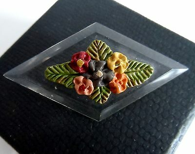Vintage 40/50s Early Clear Plastic Lucite Floral Brooch