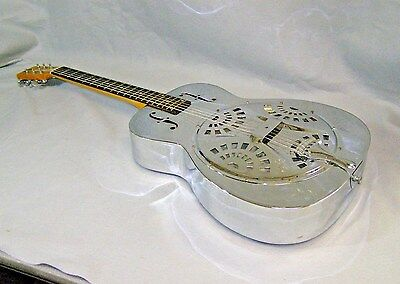 Vintage Dobro Resonator Guitar Metal Body Round Neck Johnny Winter Autographed