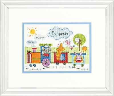NEW Dimensions D70-73925 | Train Birth Record Counted Cross Stitch Kit | 7 x 5in