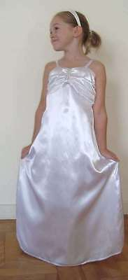 NEW  HOLY COMMMUNION white dress  size 7/8  year old White satin with