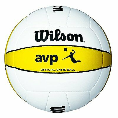 Wilson Official  AVP VOLLEY BALL, Outdoor Game Beach VOLLEYBALL, White & Yellow