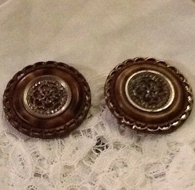 Antique Tortoise Shell Metal With A Filligree Flowering The Centre Buttons
