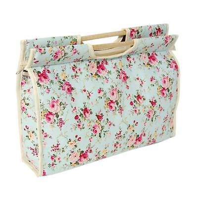 Craft Bag with Blue & Pink Floral Design & Wooden Handles & Zip to Close