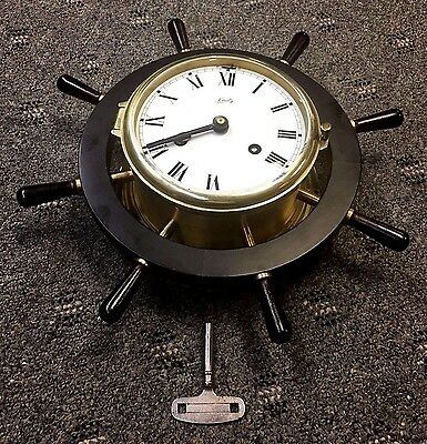 Vintage Aug. Schatz & Sohne German Ships Wheel Clock Key Wind Works Great!