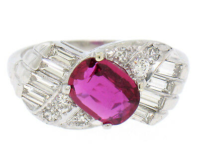 Antique Art Deco Platinum AGL Certified Oval Cut BLOOD RED Ruby & Diamond Ring