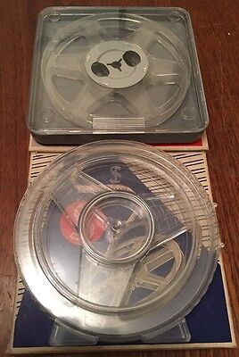 2 x Vintage 8mm Blank 200ft Plastic Film Movie Reels, in Plastic Cans & Boxes
