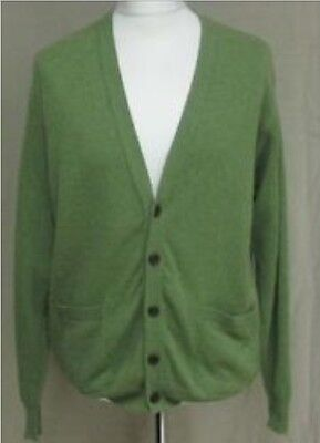 Mens Vintage Grunge Bloggers Fave cardigan olive green size M 46in Kurt Cobain