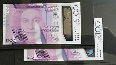 GIBRALTAR QE II £ 100 pounds 2015 (2017) Polymer consecutive replacement numbers