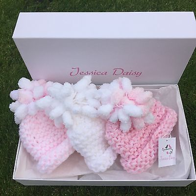 Baby girl hat gift set , with pom poms, pink and white gift set of 3, size 0-3m