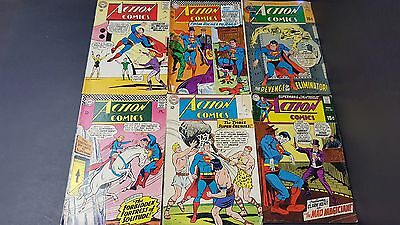 Lot of 6 Action Comics with Superman and Guests 1965 - 1969 Silver Age DC14
