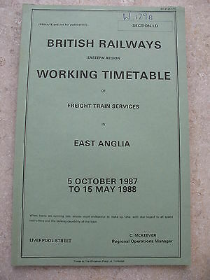 BR Eastern Region Working Timetable Section LD Freight Services Oct 1987 WTT