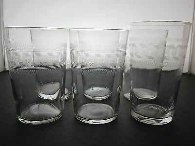 Edwardian juice water beer tumblers glasses Greek Key acid etched