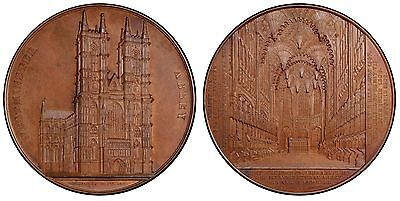 GR BRITAIN (1856) AE Medal PCGS SP65 Weiner 59mm. Hoydonck 142 Westminster Abbey