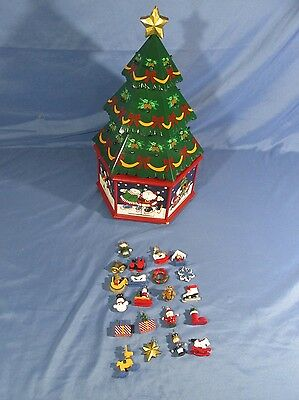 Kirkland Wooden Christmas Tree Spinning Base Advent Calendar with 21 Ornaments