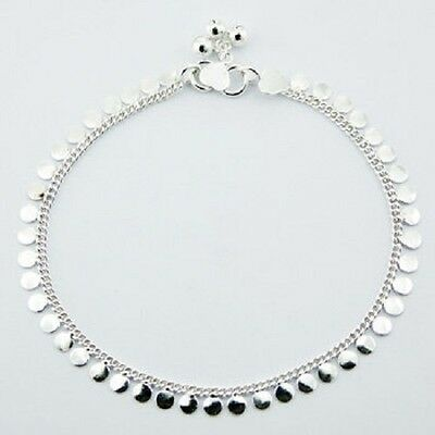 Anklet sterling 925 silver link chain Shiny silver Discs length 270mm handmade